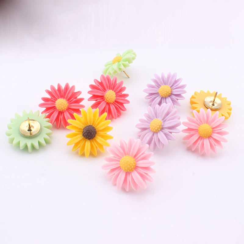 12PCS Decorative Push Pins, Colored Daisy Flower Floret Thumbtacks For Home/Office Whiteboard, Corkboard, Photo Wall Pins