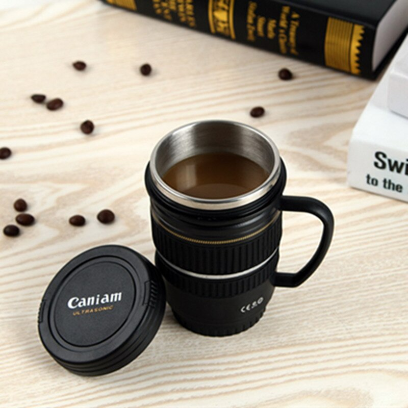 B 220ml Camera Lens Mug Creative Stainless Steel Thermos Mug Coffee Cup Portable Vacuum Flask Mugs For Tea Travel Coffee Cup