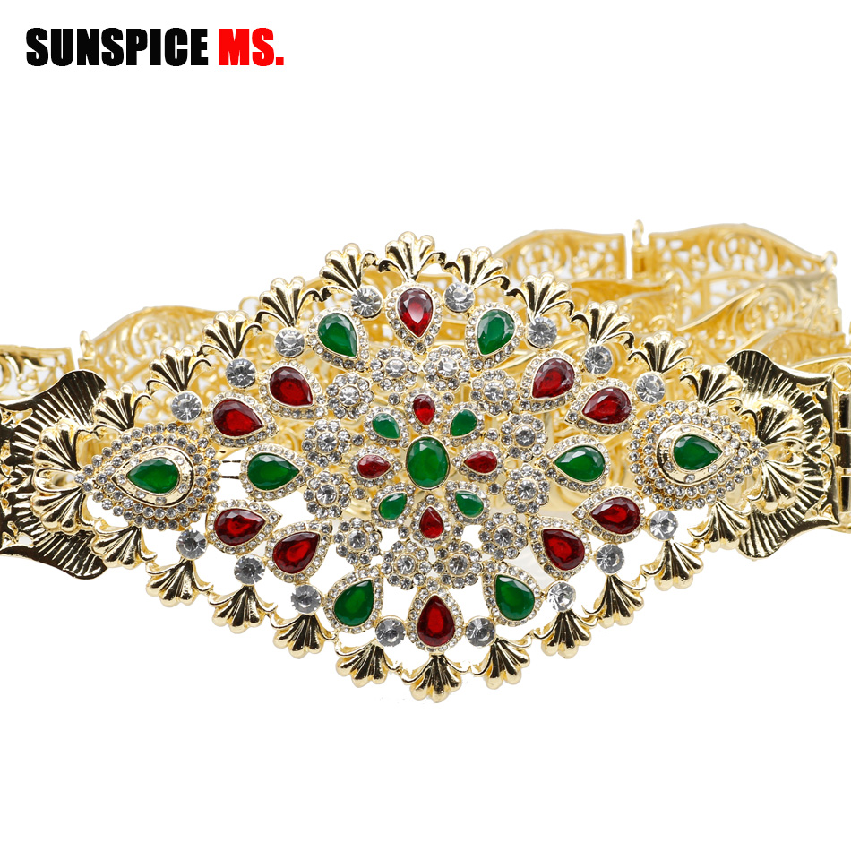 SUNSPICE MS Morocco Gold Color Caftan Belts For Women Crystal Metal Waist Chain Adjustable Length Wedding