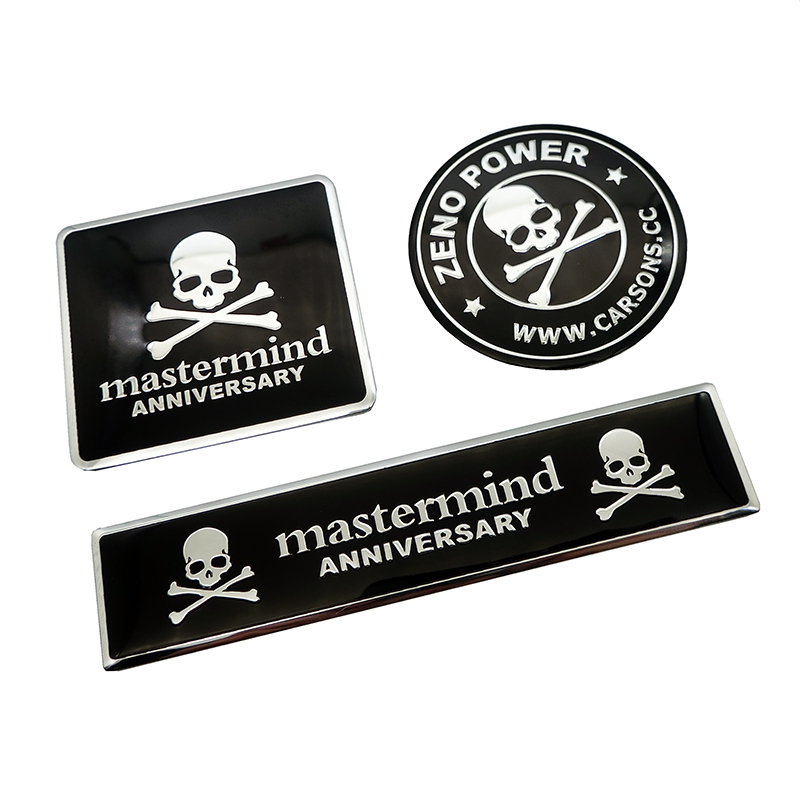 Car styling 3D Aluminum mastermind japan skull Logo Car Badge Rear Emblem Sticker For Mobile phone laptop Fashion decoration in Car Stickers from Automobiles Motorcycles