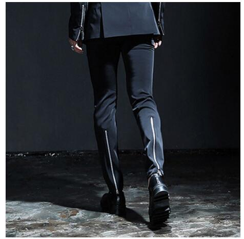 HOT 2018 New fashion men Plus size personality zipper slim casual trousers ds hairstylist nightclub host stage costumes pants
