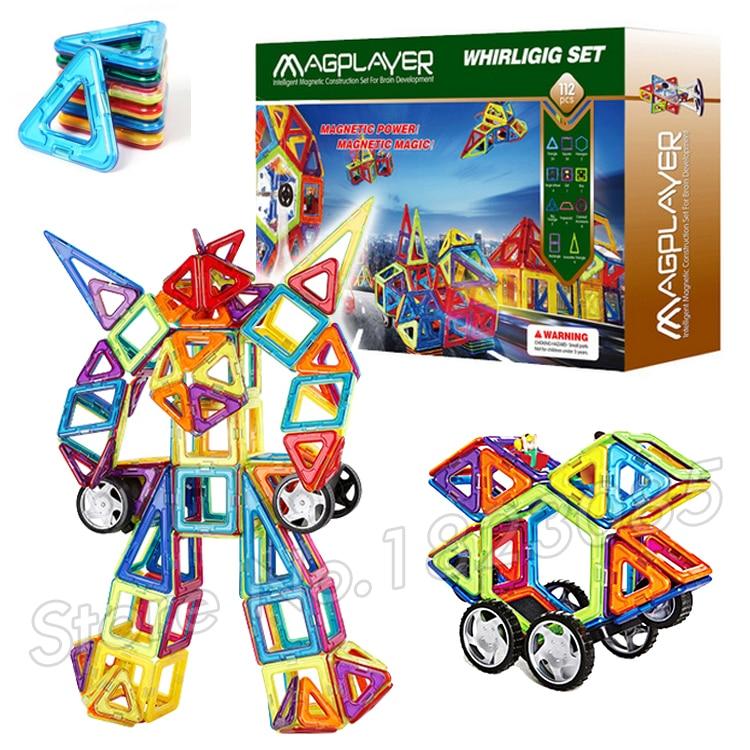 ФОТО 112pcs/set 3D DIY Kids Creative Standard Big Size Magnetic Building Blocks Toys Triangle Square Hexagon Wheels Deluxe Super Set
