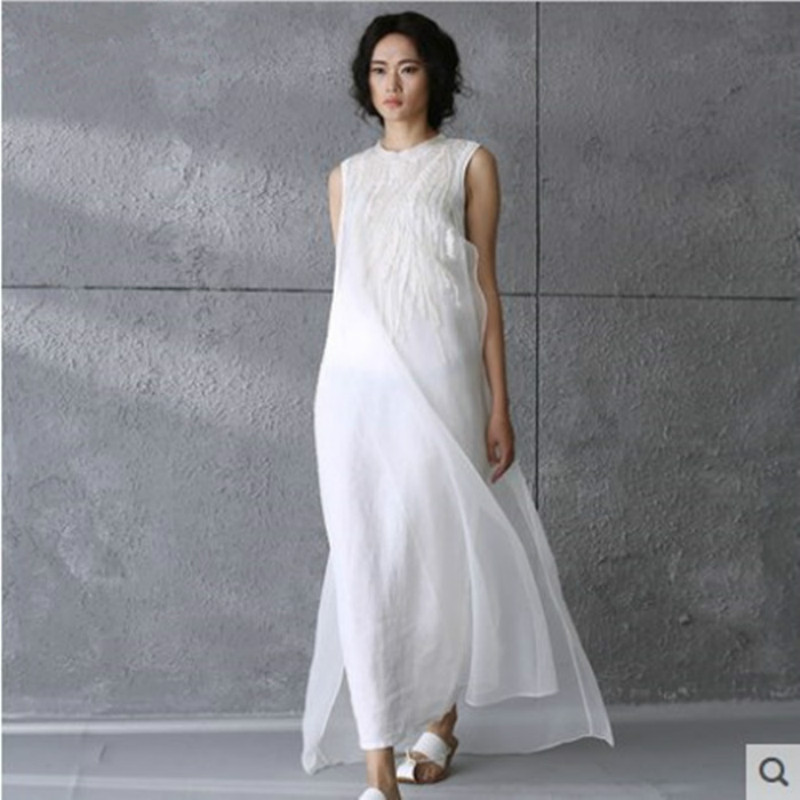 Maternity Clothes Vintage Beach Dress Sleeveless O-Neck Embroidery Dresses Pregnant Women Party Dress Silk Cotton Sundress CE742
