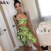 Kliou 2019 vrouwen Serpentine playsuit band skinny rompertjes vrouwelijke holle out Slangenhuid print sexy party club bodysuit kleding(China)