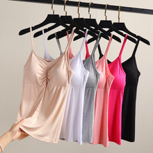 New Breathable Padded Bra Tank Top Women Modal Spaghetti Solid Cami Top Vest Female Camisole With Built In Bra Fitness Clothing solid knit cardigan with cami top