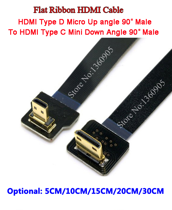 5CM/10CM/15CM/20CM/30CM Ultra Thin HDMI Cable Type C Up Angle 90 degree To Micro Down Angle 90 degree Flat Ribbon HDMI Cable FPV siemens wm 14y540