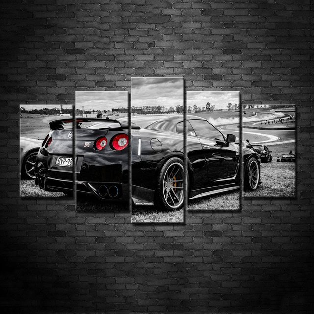 Modular Wall Art Pictures Canvas Hd Printed Poster Modern Home 5 Pieces Flashy Nissan Gtr Sports Car Painting Frame