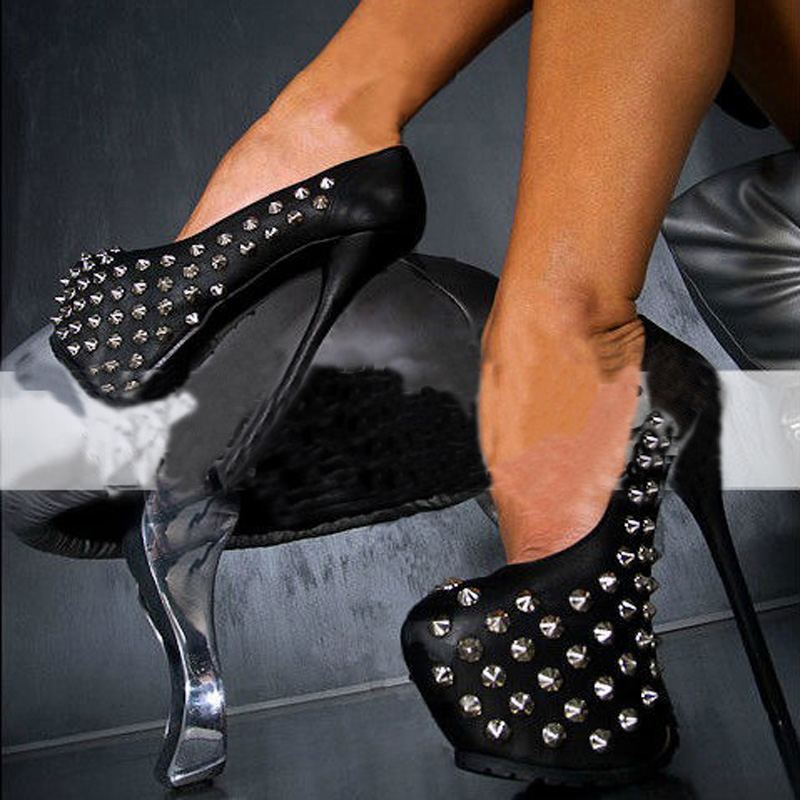 все цены на New Sexy High Platform Woman High Heels Rivets Studded Night Club Party Shoes 16CM Heels Sexy Ladies Shoes Free Shipping