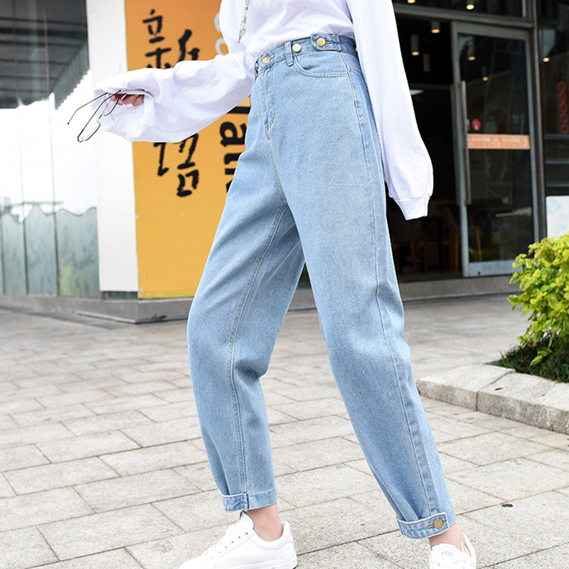 Women High Waisted Jeans Casual Loose Ankle-length Pants Fashion Trousers Pockets Button Denim Jeans Pantalones Vaqueros Mujer