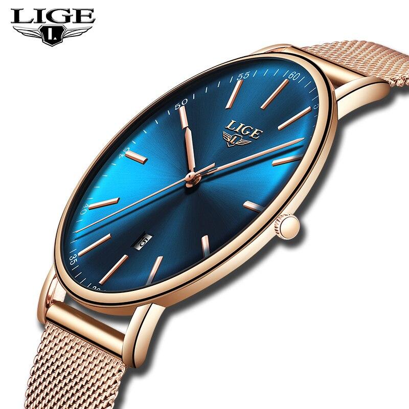 LIGE Watches Women's Top Brand Luxury Watch Business Steel Mesh Belt Ultra Thin Sports Watch Casual Waterproof Quartz Women Wat