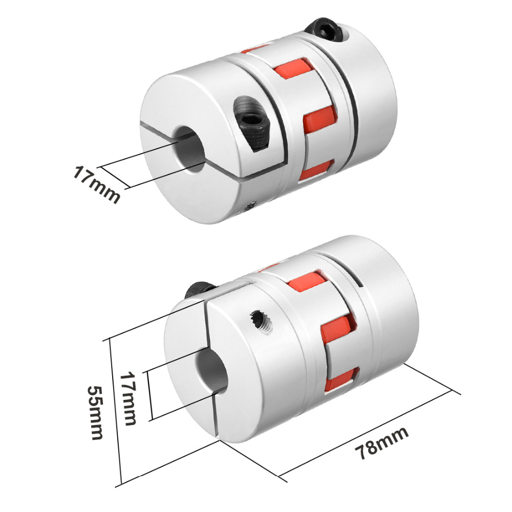 UXCELL New Arrival 1PCS L78xD55 Servo Stepped Motor M8 17 to 17mm Shaft Coupling Bore Flexible Coupler Joint Wear Resistant uxcell hot sale 1pcs l55xd40 servo stepped motor m6 12mm to 19mm shaft coupling bore flexible coupler joint wear resistant