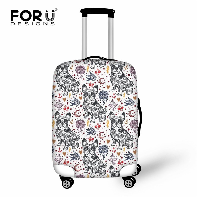 FORUDESIGNS French Bulldog Pattern Elastic Luggage Cover Thick Travel Suitcase Protective Covers Dust Bag Case For 18-30inch