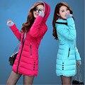 Женская хлопка-ватник 2016 зима средней длины вниз хлопка плюс размер куртки женские тонкие дамы куртки и пальто F811