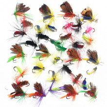 36pcs 4 Style Insect Fly Fishing Lure Artificial Fishing Bait Feather Single Treble Hooks font b