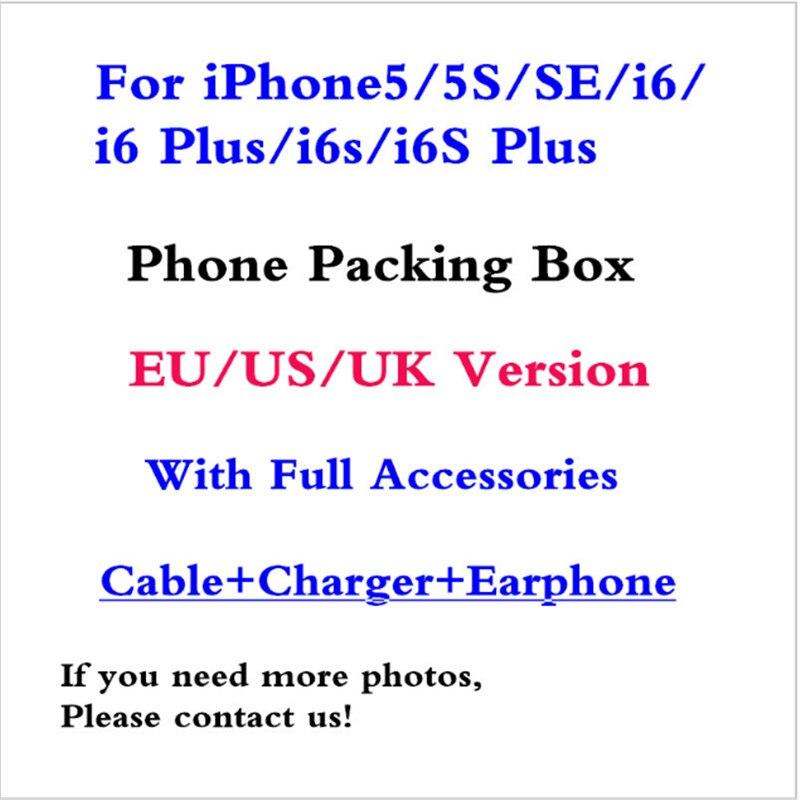 bilder für 100 teile/los Qualität US/EU/UK Version Telefon Verpackung Verpackung Box Fall Für iPhone6/6 s/6 s plus/i5/5 s/se Mit Voller Zubehör