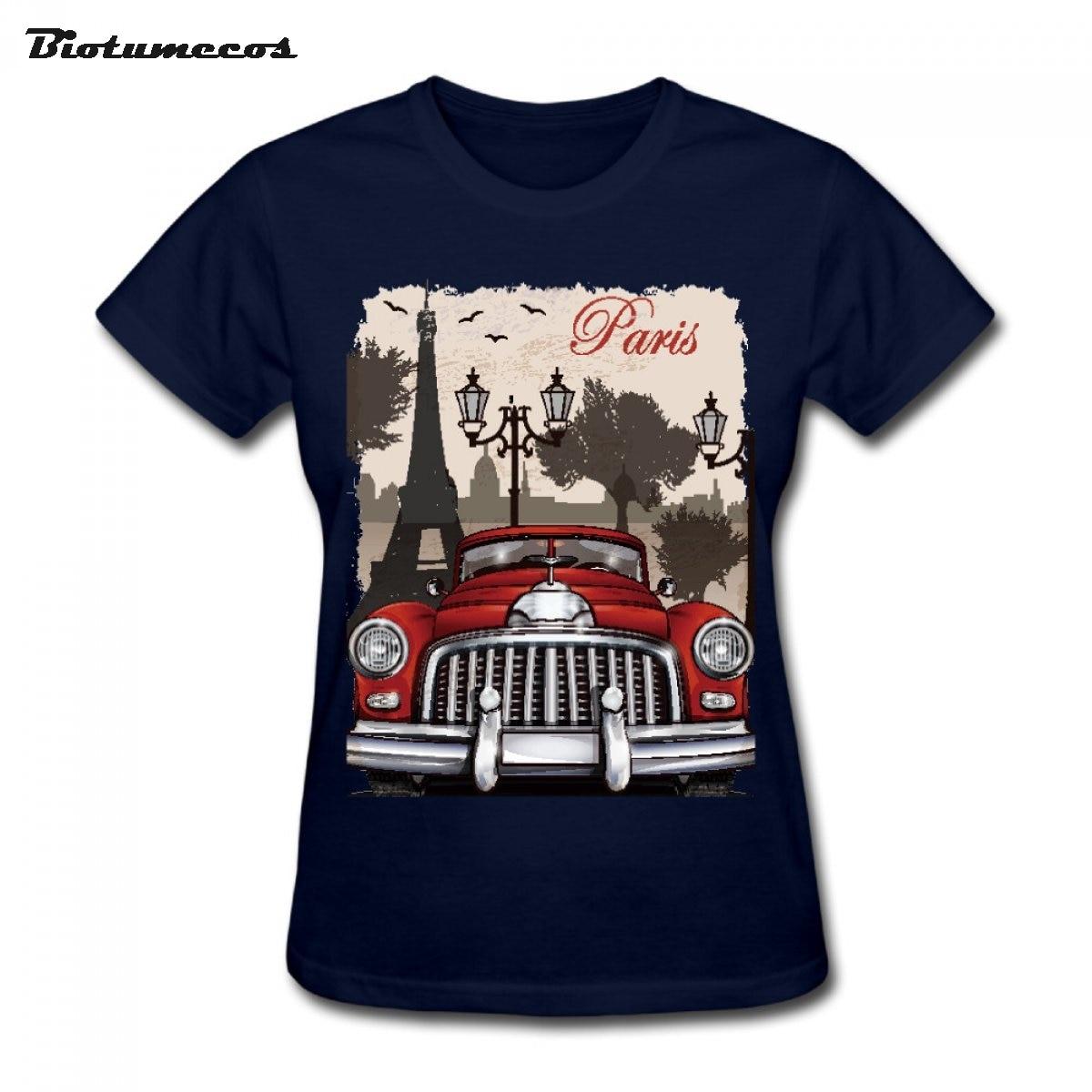 Design t shirt motor - New Design Women T Shirts Paris Tower Of London Bubble Car Printed T Shirt Brand