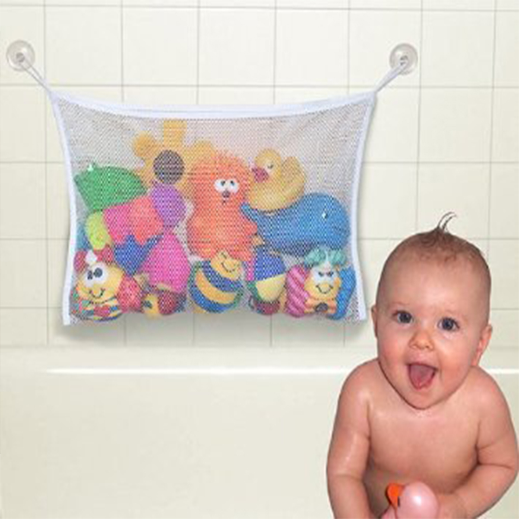 Baby Bath Toy Organizer Holder Toddler Bathtub Mesh Net Newborn Bath Bag Pouch Kids Storage Bin With Suction Hooks