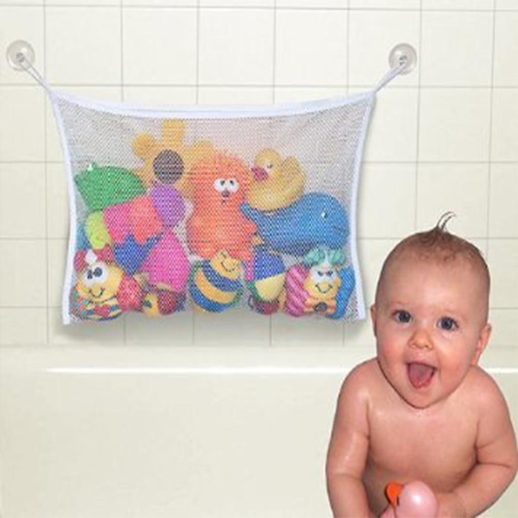 Baby Bath Toy Organizer Holder Toddler Bathtub Mesh Net Newborn Bath Bag Pouch Kids Storage Bin With Suction Hooks