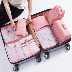 Nova Chegada 7 pcs Viagens Make Up Organizer Bag Set Roupas Multifuncionais Bagagem Bolsas De Viagem De Armazenamento Mulheres Maquiagem Necessaries