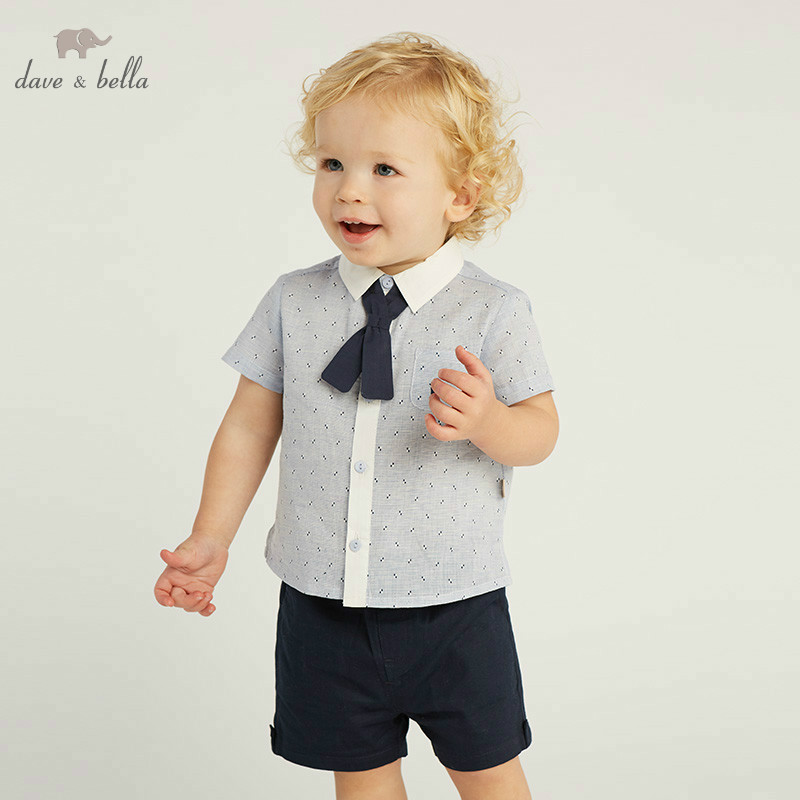 DB10194 dave bella summer baby boy clothes children clothing sets infant toddler high quality tops+shorts  2 pcs suits-in Clothing Sets from Mother & Kids    1