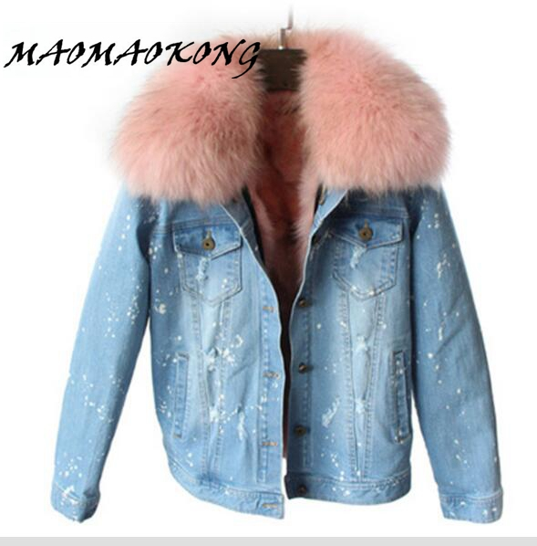 MAOMAOKONG 100% Large Raccoon Fur Collar Women Winter Coat Jacket Denim Real Fox Fur Lining Outwear Brand Style Parkas women large collar army camouflage fox fur liner hooded coat outwear real fox fur lining jacket woman brand dhl free shipping