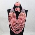 Роскошный Розовый Коралловые Бусы Полный Бусы Свадебные Ювелирные Наборы Африканских Нигерийских Женщин Розовый Ювелирные Изделия Подарочный Набор Бесплатная Доставка CNR760