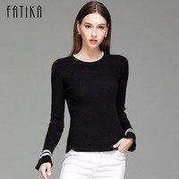 FATIKA 2017 Women Striped Flare Sleeve Fashion Pullover And Sweater Autumn Winter Female Soft Comfortable Warm
