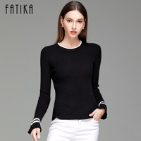FATIKA 2017 Women Striped Flare Sleeve Fashion Pullover And Sweater Autumn Winter Female Soft Comfortable Warm
