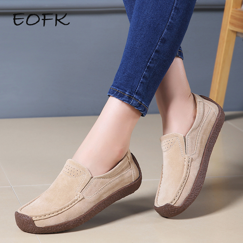 EOFK Autumn Fall Women Moccasins Women's Flats Genuine Leather Shoes Woman Lady Loafers Slip On Suede Shoes Mocasines Mujer