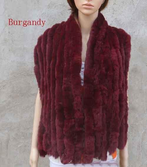 Настоящий вязаный шарф из меха кролика рекс женский зимний теплый натуральный мех шаль FP574 - Цвет: Burgandy