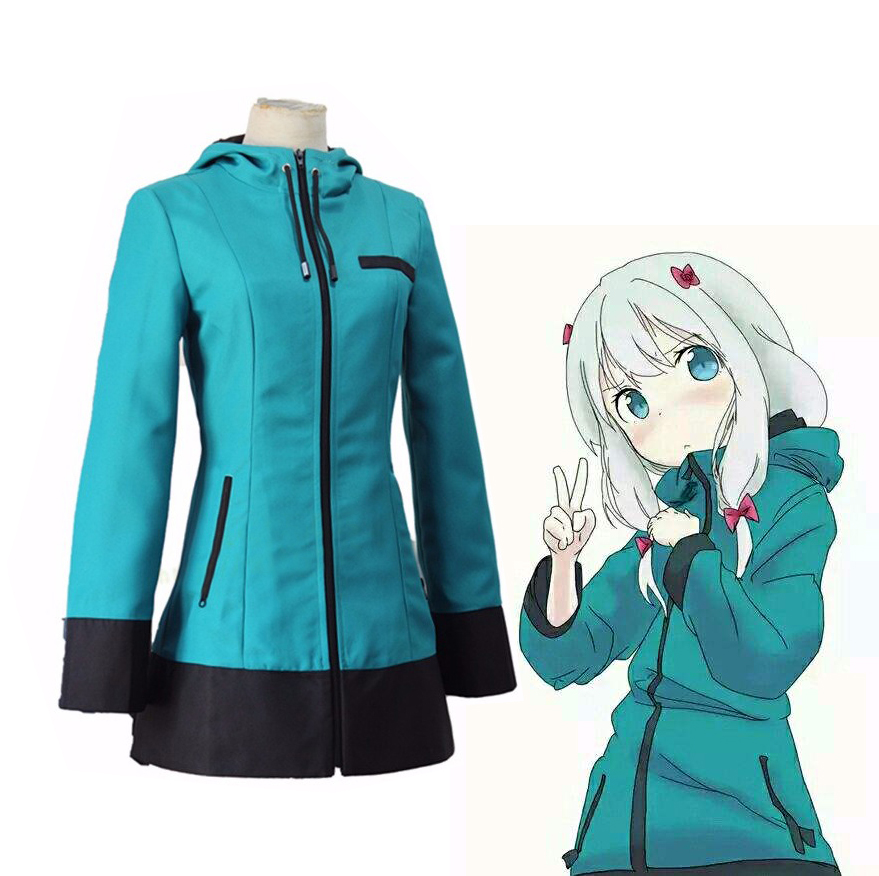 Anime Eromanga Sensei Izumi Sagiri Uniform Cosplay Costume Blue Hoodies With Headwear Hooded Jacket