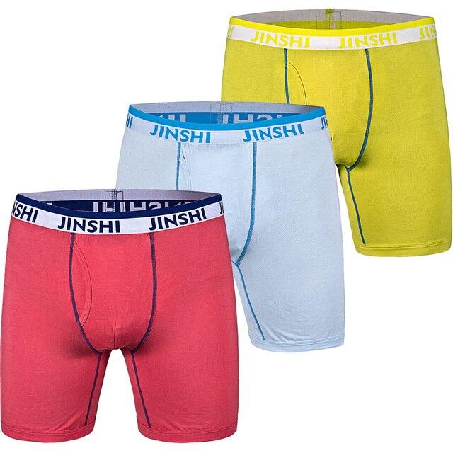3 PCS/Pack JINSHI Men Underwear Men's Trunks Sexy Bamboo Fiber U-Convex Pouch Underpants Shorts Brand Mens Underwear Boxers Men