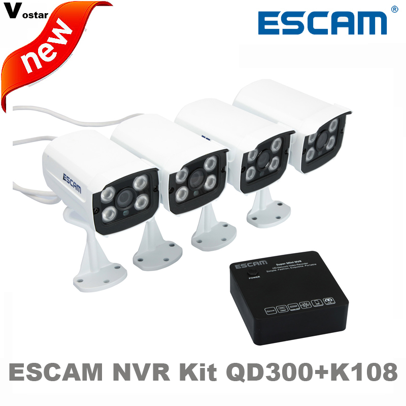 ФОТО Escam Brick QD300 Mini Camera HD720P IR Bullet IP Camera Onvif Night Vision P2P Security waterproof ip66 Camera+Mini NVR K108