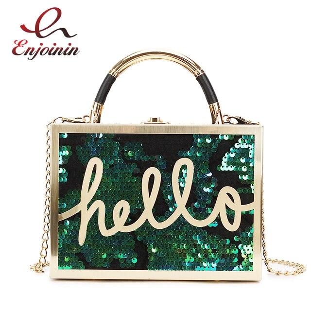 Gradient Color Sequin Letters Hello Box Style Ladies Handbag Shoulder Bag  Party Mini Messenger Bag Women s Bolsa Clutch Bag Flap fbb88084e451