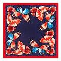 60 cm * 60 cm sarga de seda de la nueva señora de la mariposa de primavera bufandas de seda, pequeña bufanda cuadrada