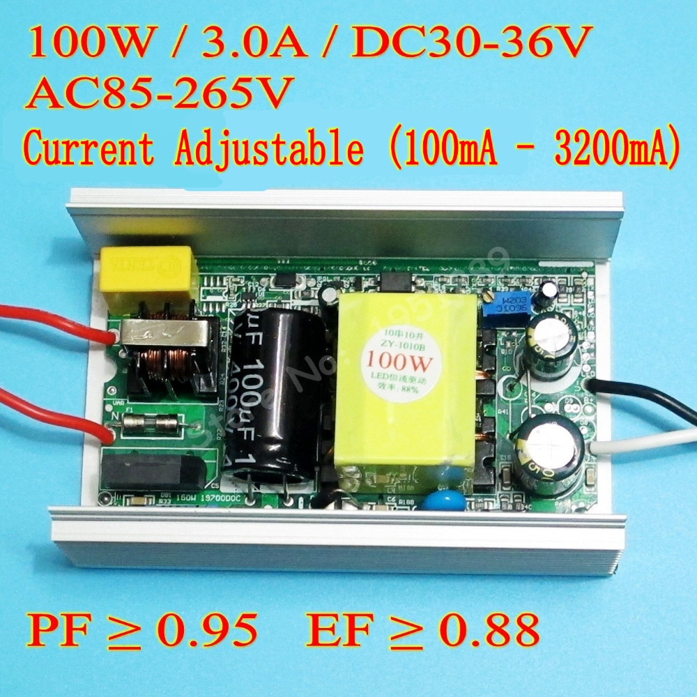 High PF 3000mA 100W DC 30V - 36V Current Adjustable Isolated Constat Current LED Driver for 100w led chip diy AC 110V 220V 100w dimmable constant current led driver ip67 waterproof ac to dc30 36v 3000ma for 100w high power led light