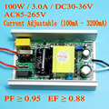 High PF 3000mA 100W DC 30V - 36V Current Adjustable Isolated Constat Current LED Driver for 100w led chip diy AC 110V 220V