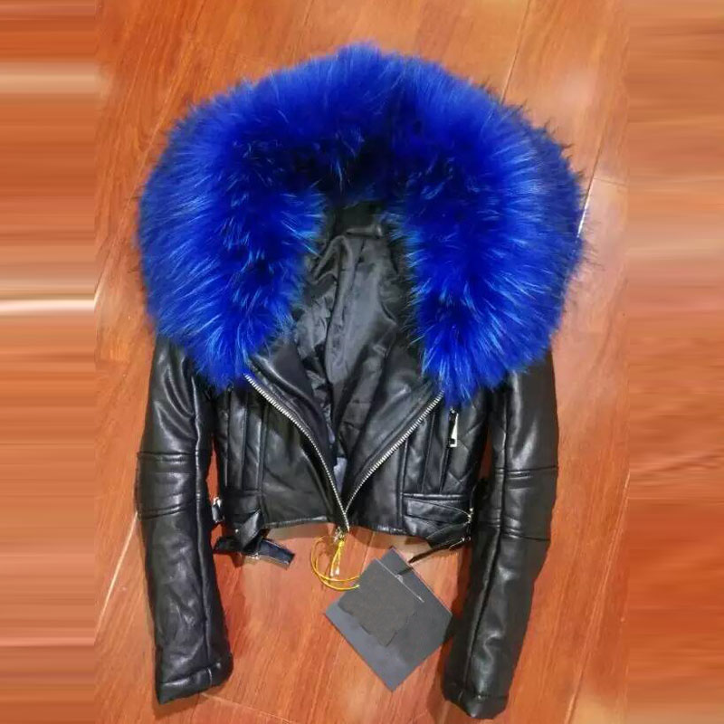 Real Leather short top jacket slim free shipping black,red, blue big fur collar