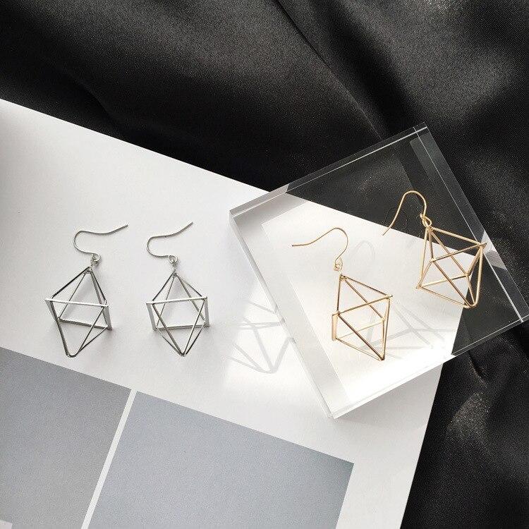Personality Geometric Lantern Pyramid Three - Dimensional EarringsTassel Earring Cubic Zirconia Earrings Big Earrings