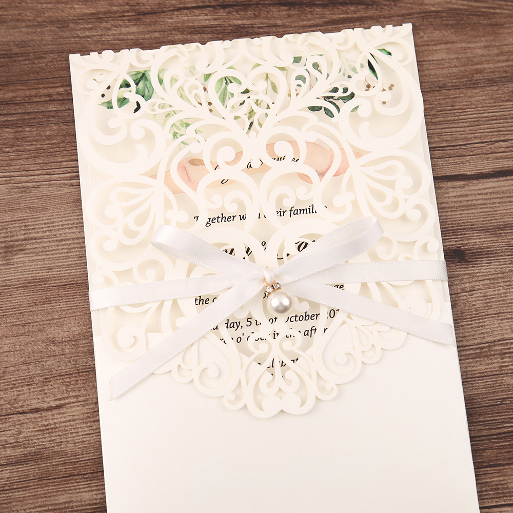 100pcs White New Arrival Horizontal Laser Cut Wedding Invitations with pearl ribbon,RSVP card,Customizable