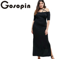 Gosopin 2017 New Sexy Summer Women Strap Detail Plus Maxi Dress with Side Slits Ladies Party Clubwear Robe Vestidos LC61465