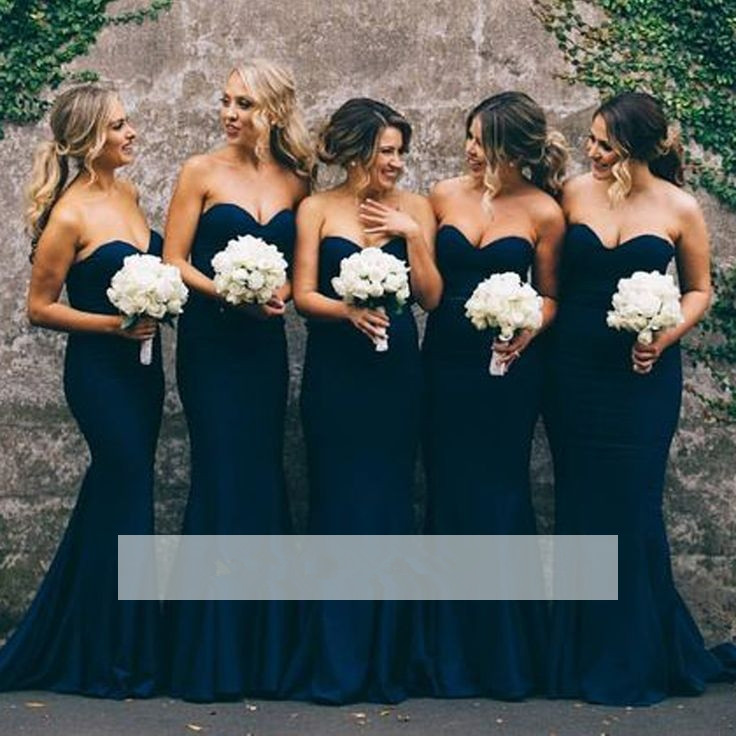 Blue 2019 Cheap   Bridesmaid     Dresses   Under 50 Mermaid Sweetheart Backless Long Wedding Party   Dresses   For Women