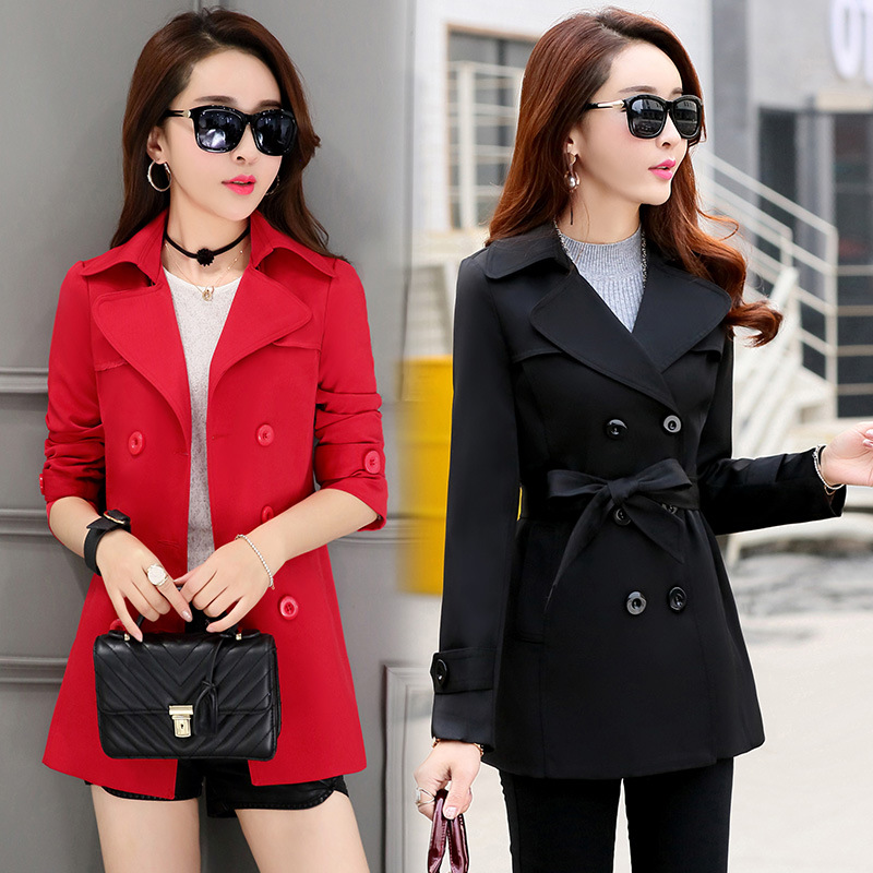 Ladies Coat Spring And Autumn Large Size Double-breasted Long  Coat Female Temperament Slim Slimming Women's Coat Jacket