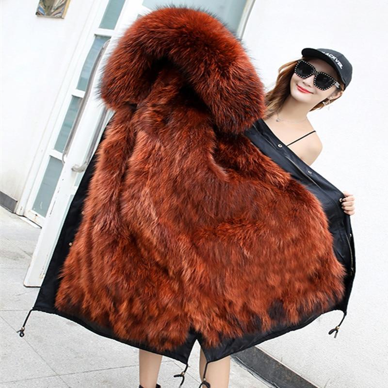 X длинные зимние куртки пальто женский 2018 Большие размеры из натурального меха енота парки mujer пальто толстые женщины с натуральным мехом вн