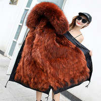 X long winter jackets coats female 2018 plus size real raccoon fur parkas mujer coat thick women real fur inner parka