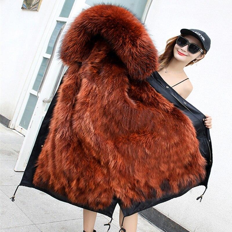 X-long hiver vestes manteaux femme 2018 plus la taille réel fourrure de raton laveur parkas mujer manteau épais femmes vraie fourrure intérieure parka