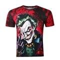 2016 novo Coringa camiseta 3d engraçado comics personagem coringa com estilo de poker 3d t-shirt do verão roupa t-shirt top impressão cheia