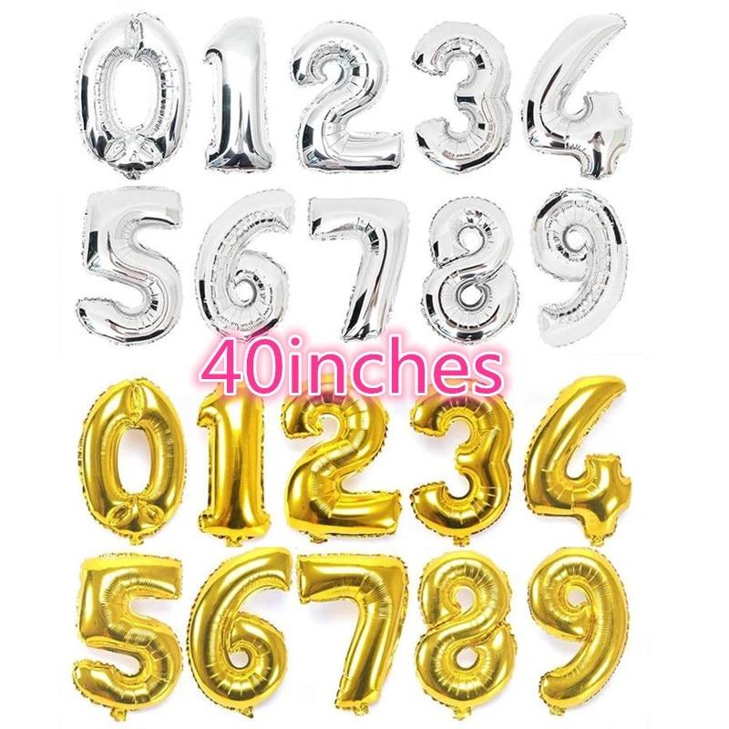 """Lot de 2 Ballons Numéro de 0 à 9 Anniversaire Mariage Fête Or//Argent 17/"""""""