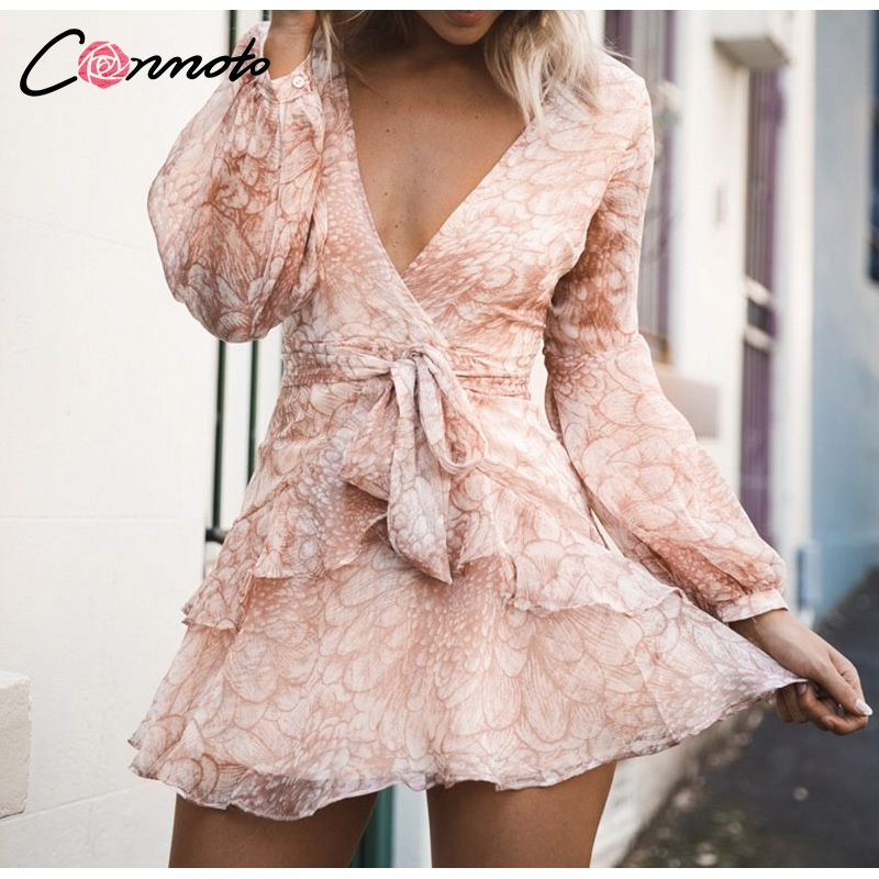 Conmoto Vintage Print Summer Dresses Female Elegant Party Short Dress Bow Sexy Ruffles Chiffon Dress Women Vestidos 2 Colors 5