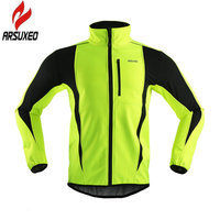 ARSUXEO 2017 Thermal Cycling Jacket Winter Warm Up Fleece Bicycle Clothing Windproof Waterproof Sports Coat MTB